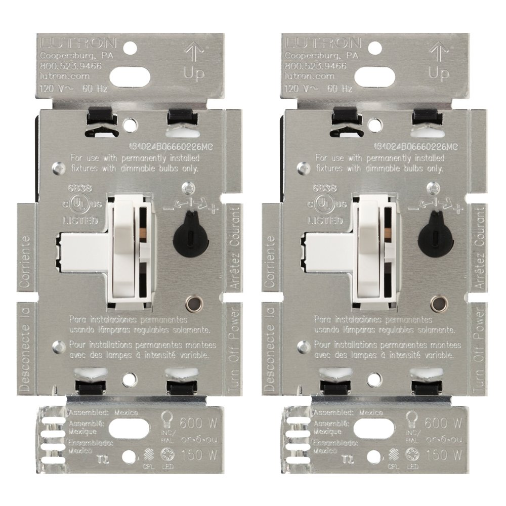 White Lutron Electronics Company Inc. Halogen and Incandescent Bulbs TGCL-153PH-2-WH Lutron Toggler C.L Dimmer Switch for Dimmable LED 2-Pack Single-Pole or 3-Way