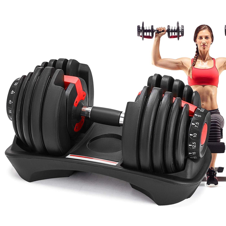 Moracle Mancuernas de Fitness Mancuerna Ajustable de Hierro Fundido para Gimnasio 4,5 kg a 23,8 kg El Culturismo Levantamiento de Pesas Gimnasio ...
