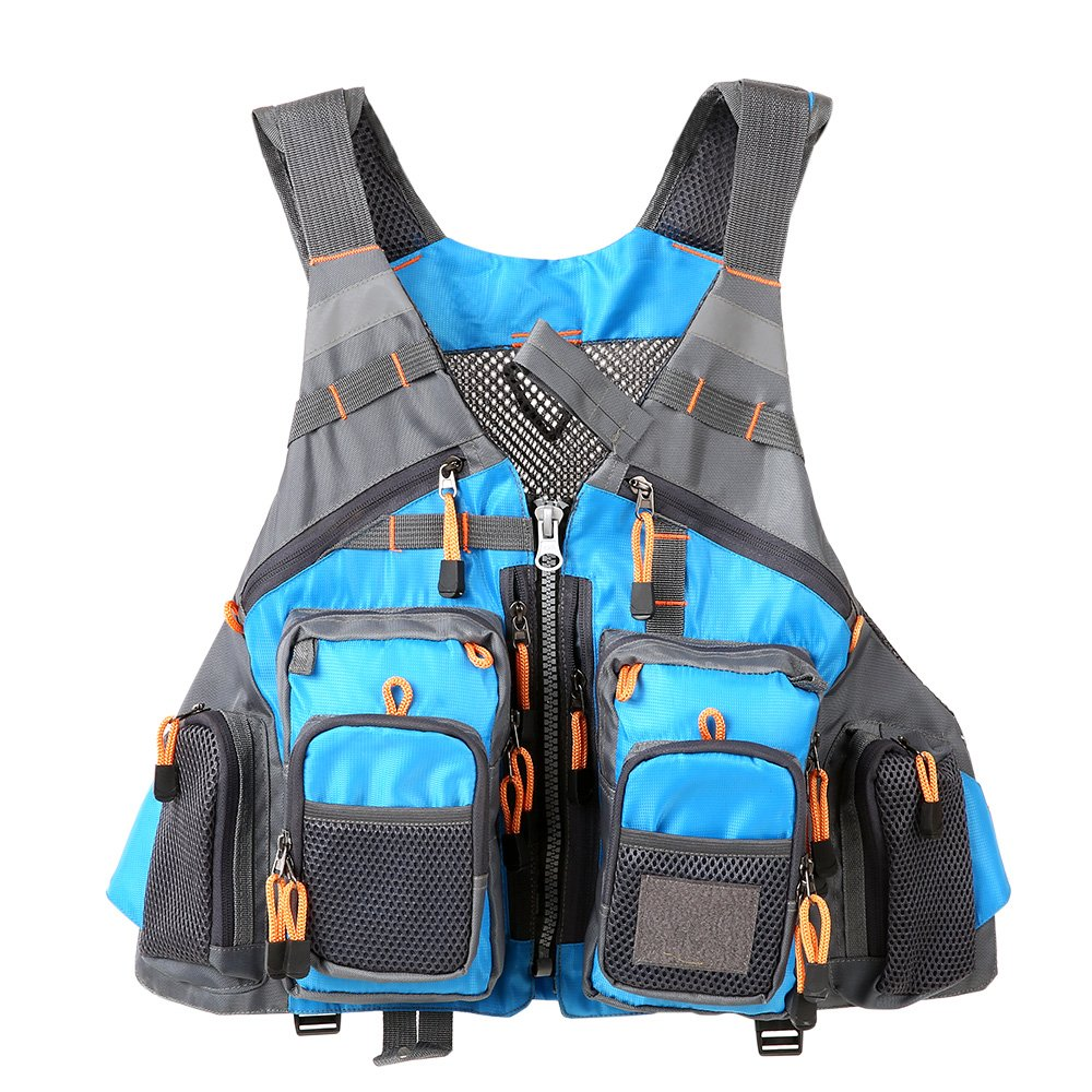 Lixada Fly Fishing Vest,Fishing Safety Life Jacket Breathable Polyester + EPE Foam/Mesh Design Fishing Vest for Swimming Sailing Boating Kayak Floating (Mesh-Blue)