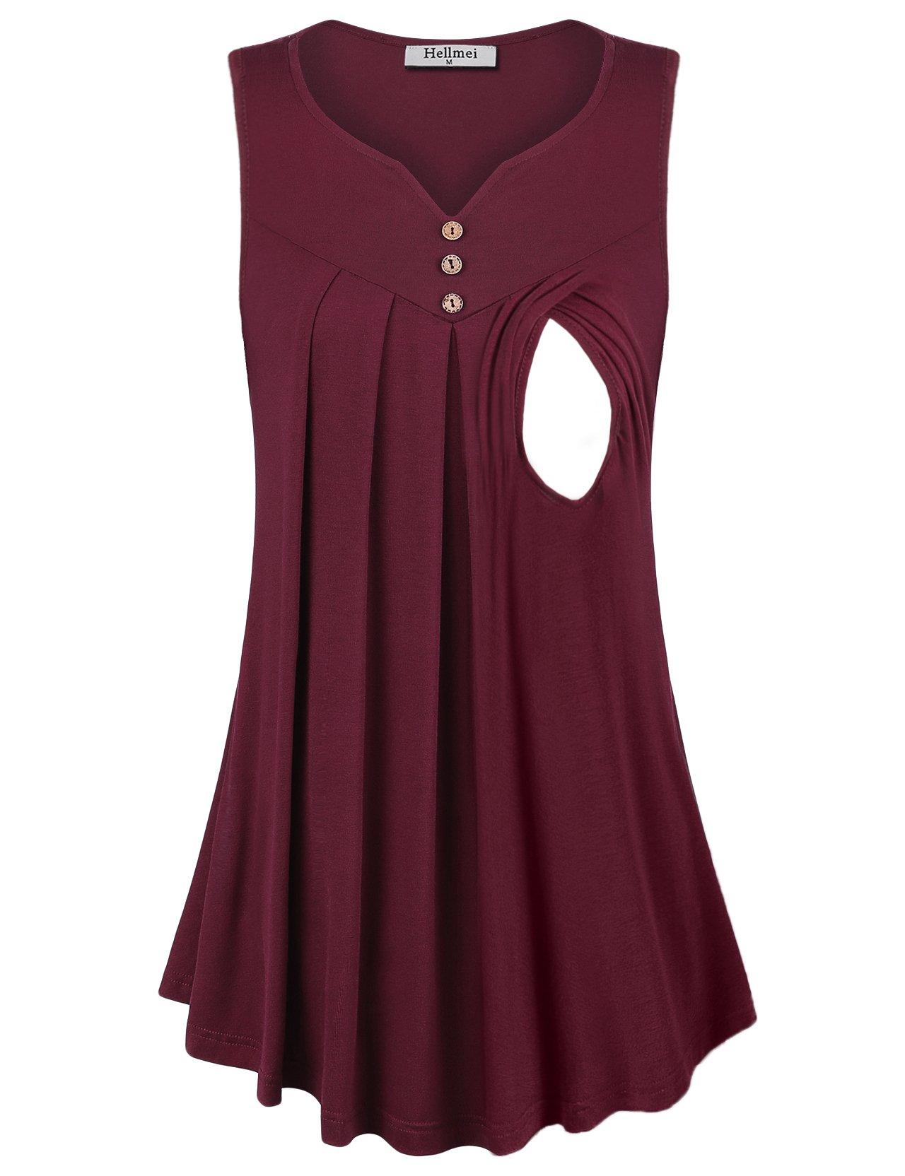 Hellmei Women's Long Sleeve Zip up Pullover Nursing Hoodies with Side Pocket (X-Large, Wine#10)