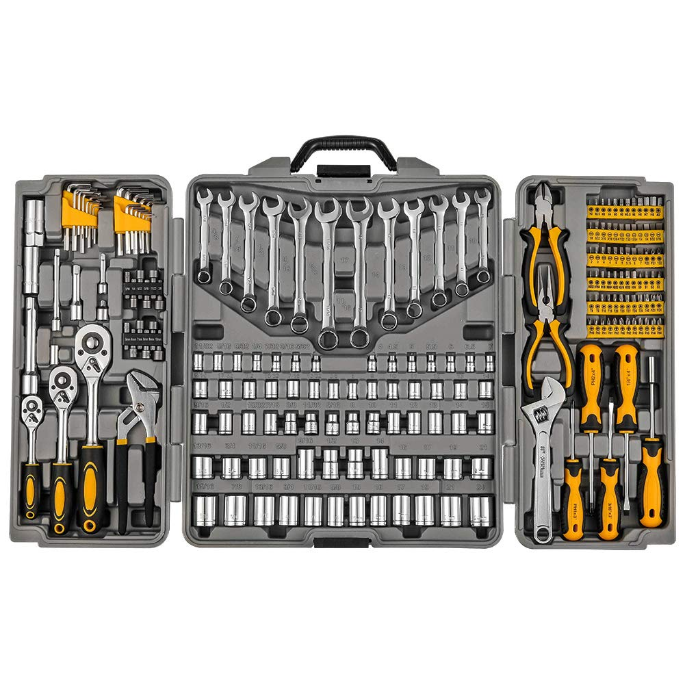 Mechanics Tool Set 205-Piece, Household Tool Kit Set with Tools Box Case for Men and Women by Wilnerkot