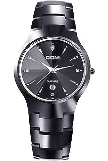 Dom Mujer Negro Lujo Acero de tungsteno Marcas de Relojes Analogico Quartz