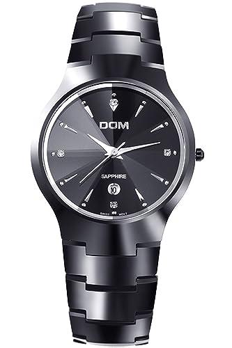 DOM Hombre Negro lujo acero de tungsteno Marcas de Relojes Analogico Quartz: Amazon.es: Relojes