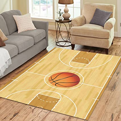 InterestPrint Custom A Basketball On Basketball Court Area Rug, Hardwood  With Basketball Court Modern Floor