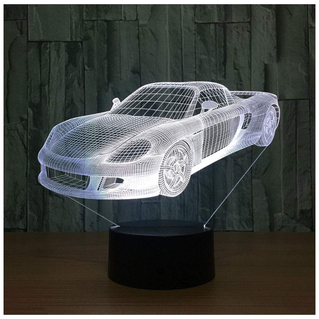 Novelty Lamp, 3D Child Car Optical Illusion Night Light USB Charging LED Lamp, Color Change 5 Color for Bedroom, Kids Room, Coffee Table, Christmas Decoration and Lover Gift,Ambient Light by LIX-XYD (Image #3)
