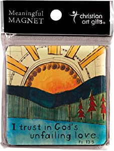 Christian Art Gifts Inspirational Fridge Magnet | I Trust In Gods Unfailing Love - Psalm 13:5 Bible Verse | Wood Refrigerator Magnet, 2.75 Inches Square