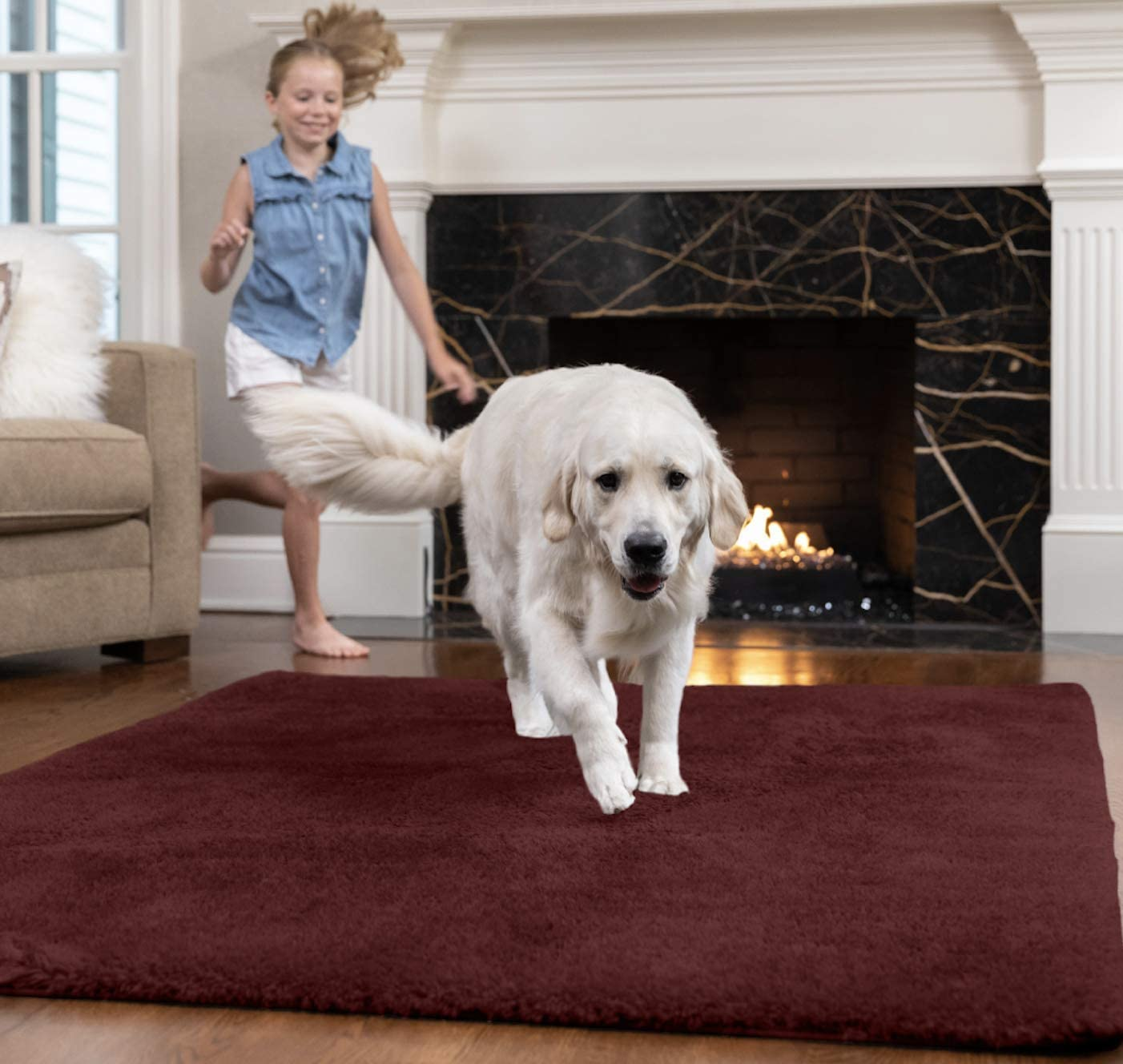 GORILLA GRIP Original Faux-Chinchilla Runner Rug, 2x8 FT, Many Colors, Soft Cozy High Pile Washable Kids Carpet, Rugs for Floor, Luxury Shag Carpets for Home, Nursery, Bed and Living Room, Burgundy