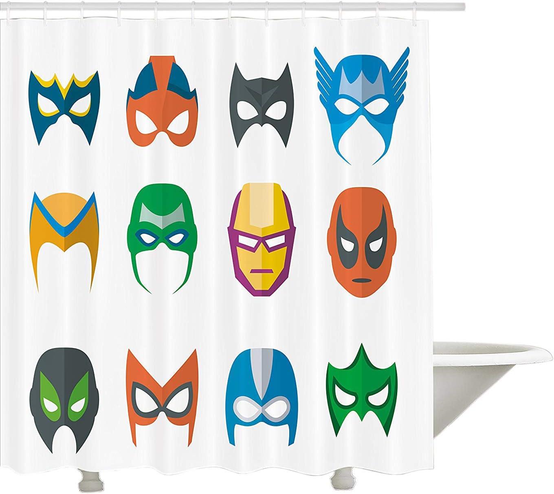 Yeuss - Cortina de Ducha de superhéroe, máscara de héroe para ...
