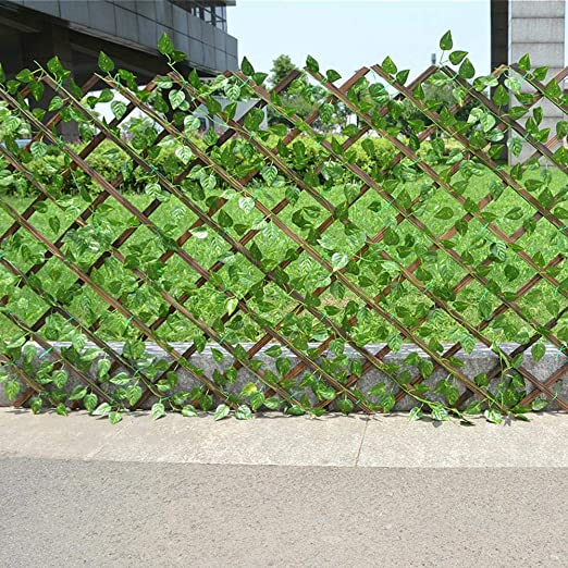 Valla retráctil con vid verde artificial, Valla de madera decorativa para jardín con seto topiario Para patio interior al aire libre Balcón Decoración Verdes Paredes Bodas Accesorios de fotos: Amazon.es: Hogar