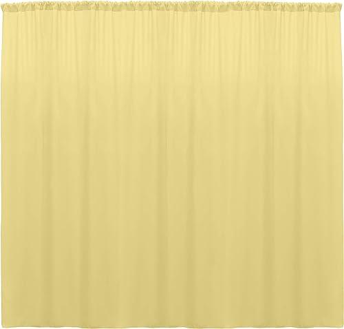 Ultimate Textile -10 Panels- Polyester Backdrop Drape 72 x 120-inch – for Pipe Drape, Wedding, Tradeshow, Decorating or Window Curtain use, Cornsilk Light Yellow