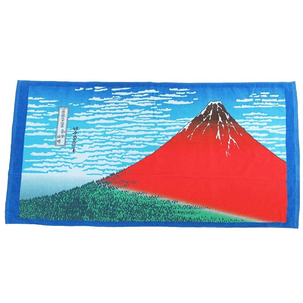 Marushin Hokusai Red Fuji Bath Towel 70x140cm 0515011700