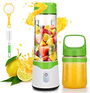 Mini Blender, Portable Blender,Blender for Shakes and Smoothies, Personal Blender,BPA Free blenders, Travel Blender for Home Sports Office Gym and Outdoors (Double Juicer Cup)