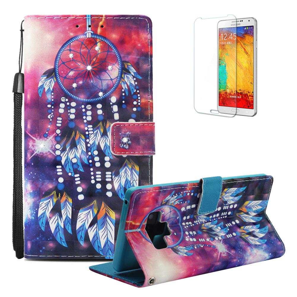 Funyye Wallet Premium Leather Case for Samsung Galaxy Note 9, Creative 3D Blue Art Painted Pattern Strap Magnetic Flip Cover with Card Holder Slots Case for Samsung Galaxy Note 9