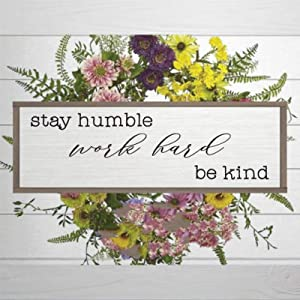 "DONL9BAUER Wood Framed Plaque Stay Humble Work Hard Be Kind Sign, Unique Dorm Wall Art, Mural Farmhouse Rustic Wood Sign Wall Decor Perfect for Bar Office & Home 6""x20"""
