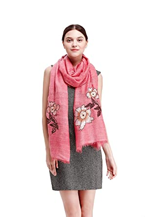 c36d086b9d8fc Image Unavailable. Image not available for. Color: Wool Pashmina Embroidered  Scarf Womens Fashion Long shawl Winter Blanket Wrap