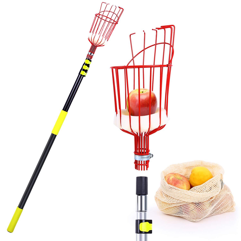 Ohuhu Fruit Picker Tool, 13 FT Upgraded Fruit Picking Equipment with Shorter Contraction Pole Detachable Metal Basket, Lightweight Heavy Duty Aluminum Telescopic Pole, Bonus Fruit Carrying Bag