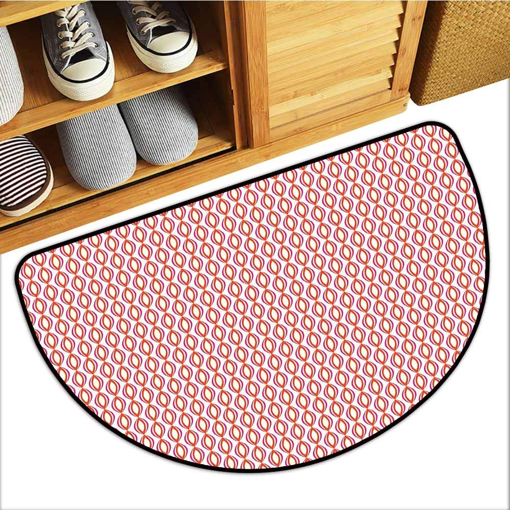 TableCovers&Home Magic Non Slip Door Mat, Geometric Non-Slip Rugs for Kids Room, Abstract Ethnic Retro Vivid Vertical Ovals Symmetric Curves Artful Print (Magenta Red Rose, H24 x D36 Semicircle)