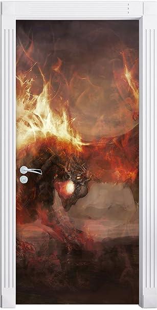 Stilzeit Möbel Ritter Kämpft Gegen Drachen Im Feuer Als Türtapete