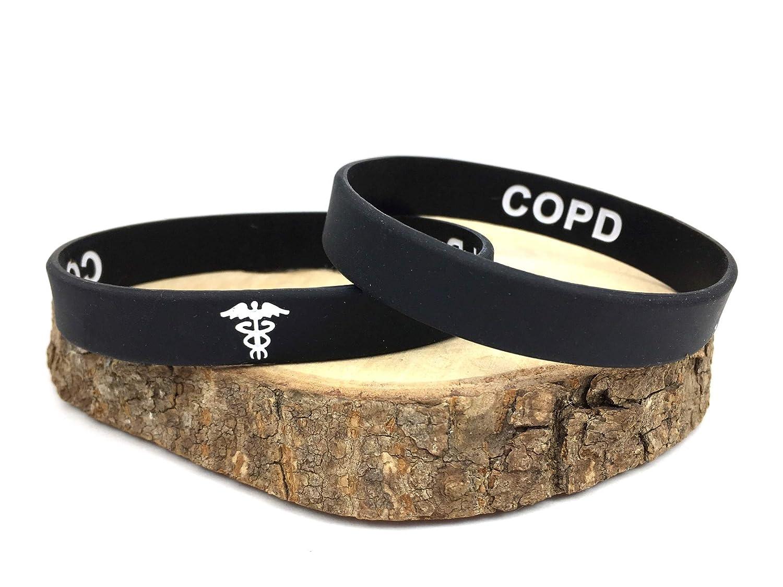 COPD hidden message pulsera de silicona para alerta médica de emergencia. En blanco y negro pulsera con texto en inglés. 202mm. By Butler & Grace
