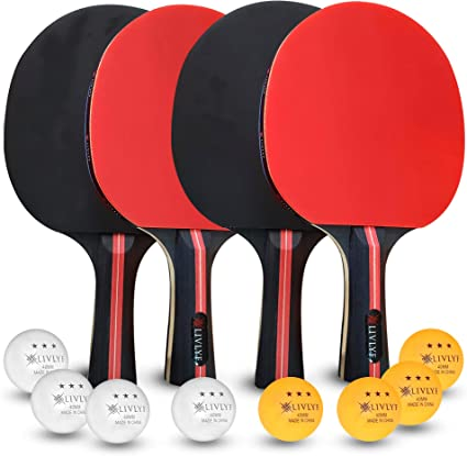 LIVLYF Ping Pong Paddle Set - 4 Premium 7 Ply Wood Racket, 8 Table Tennis Balls Bundle, Portable Travel Storage Bag - Professional Game Play - ...