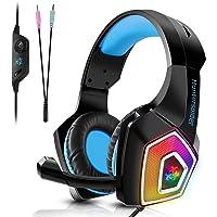 TENSWALL PS4 Auriculares gaming para PS4 o PC, Cascos Gaming con cable y LED, con sistema de control de volumen y cancelación de ruido, color azul