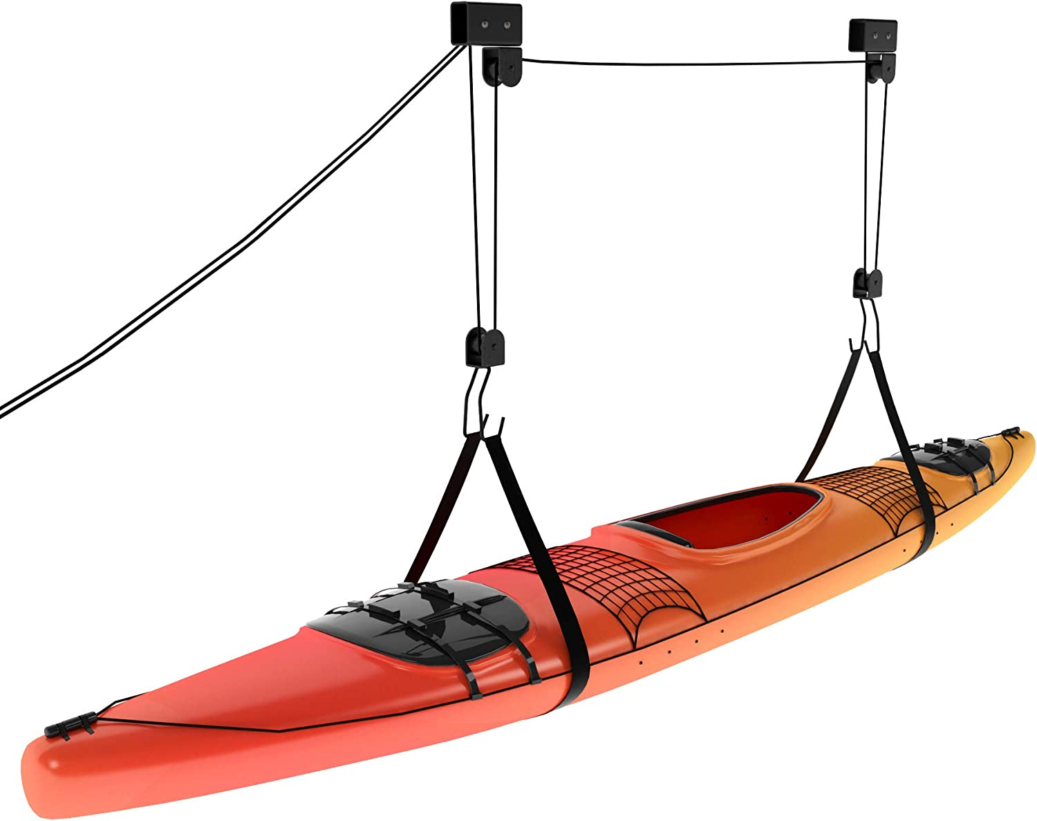 Kayak Ceiling Hoist - Overhead Garage Storage Rack for Kayak, Bike, Ladder, Canoe, Boat - Adjustable Hanger System with Hooks for Hanging & Pulley for Lifting
