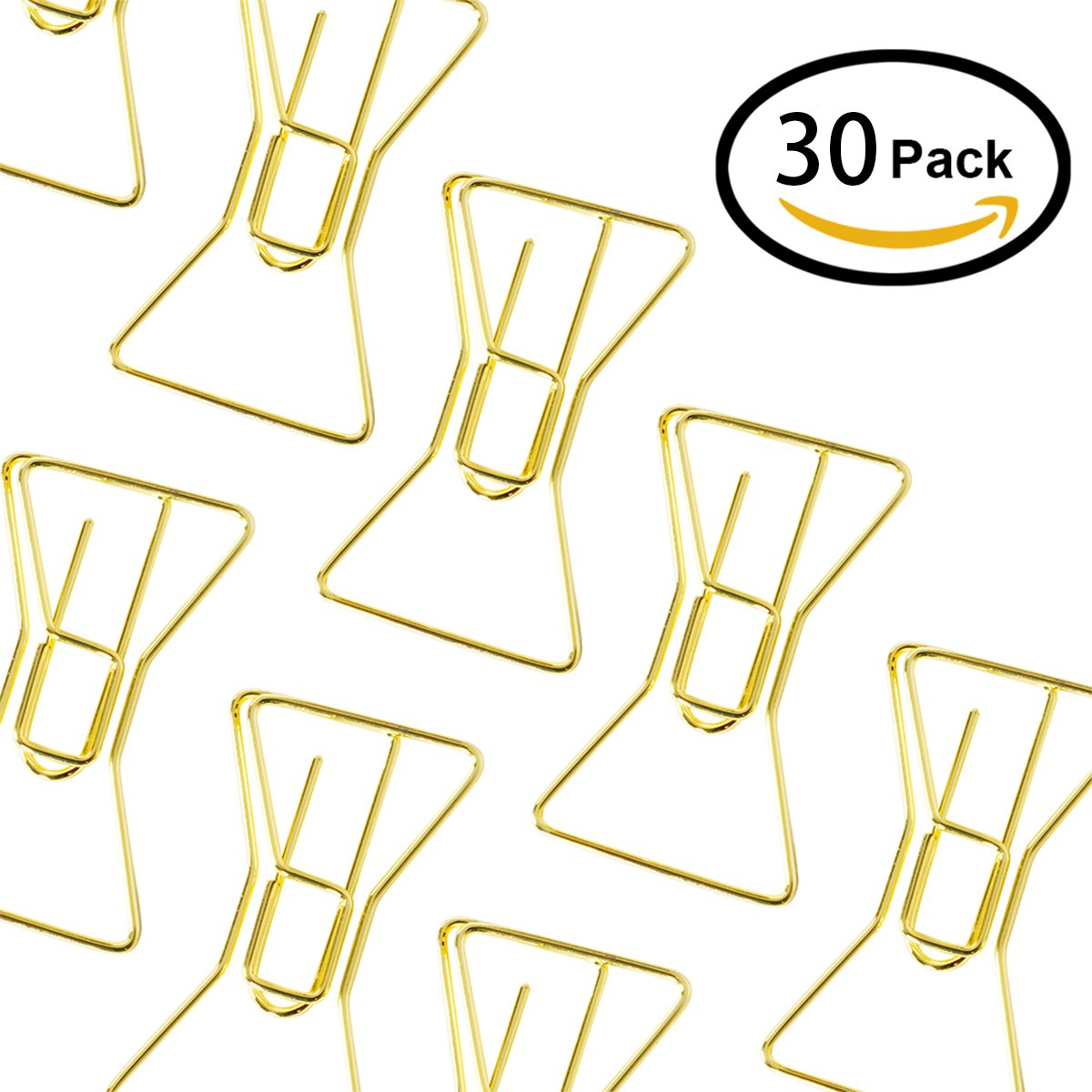 YMhome 30pcs Binder Clips Bookmarks Paperclips Photo File Document Clamps for School Kitchen Home Creative Office Supplies with Storage Case Colored Plated Gold Bow Tie