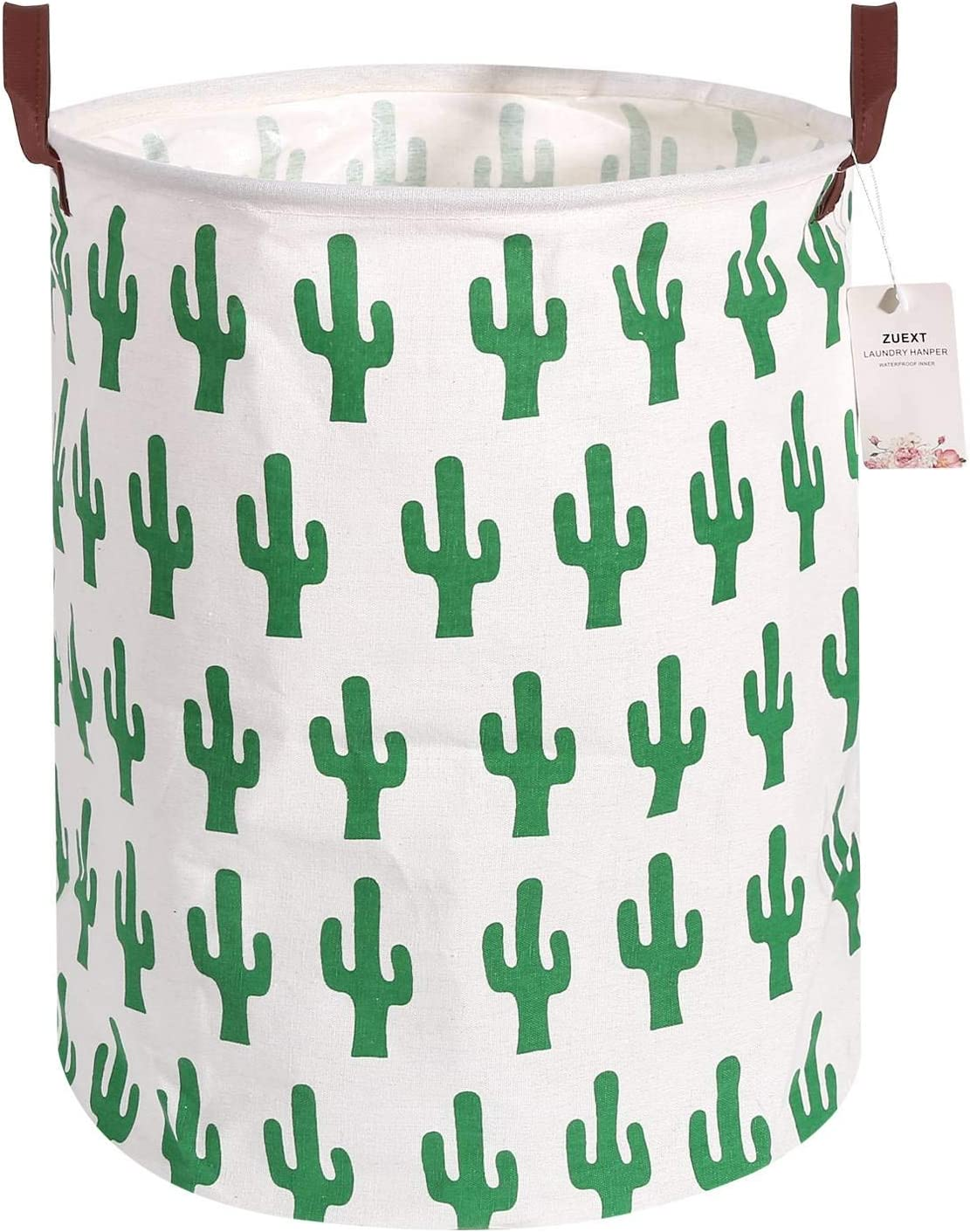 Large Storage Bins 19.7x15.7 Inch, ZUEXT Waterproof Foldable Cotton Canvas Fabric Storage Bin, Collapsible Round Clothes Laundry Hamper w/Leather Handles, Cactus Storage Basket, Toy Books Holder
