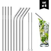 "Set of 8 Reusable Stainless Steel Straws, 8.5"" (6mm x 215mm) - 316 Stainless Steel FDA-Approved - Metal Curved Drinking Straw for Smoothies & Tumblers (4 Straight + 4 Bent + 2 Cleaning Brushes)"