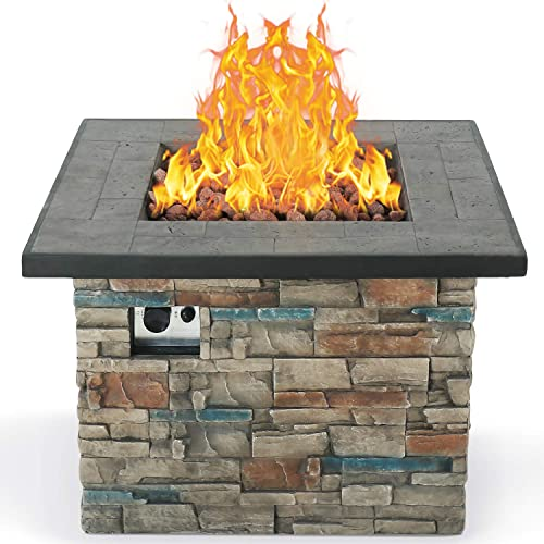 BXYIZU Fire Pit Table Outdoor Gas Fire Pit, 50,000 BTU Lightweight Envirostone Propane Gas Burning Fire Pit-Push-Button for Flame Adjustment Free Lava Rocks,W35 x 24 H