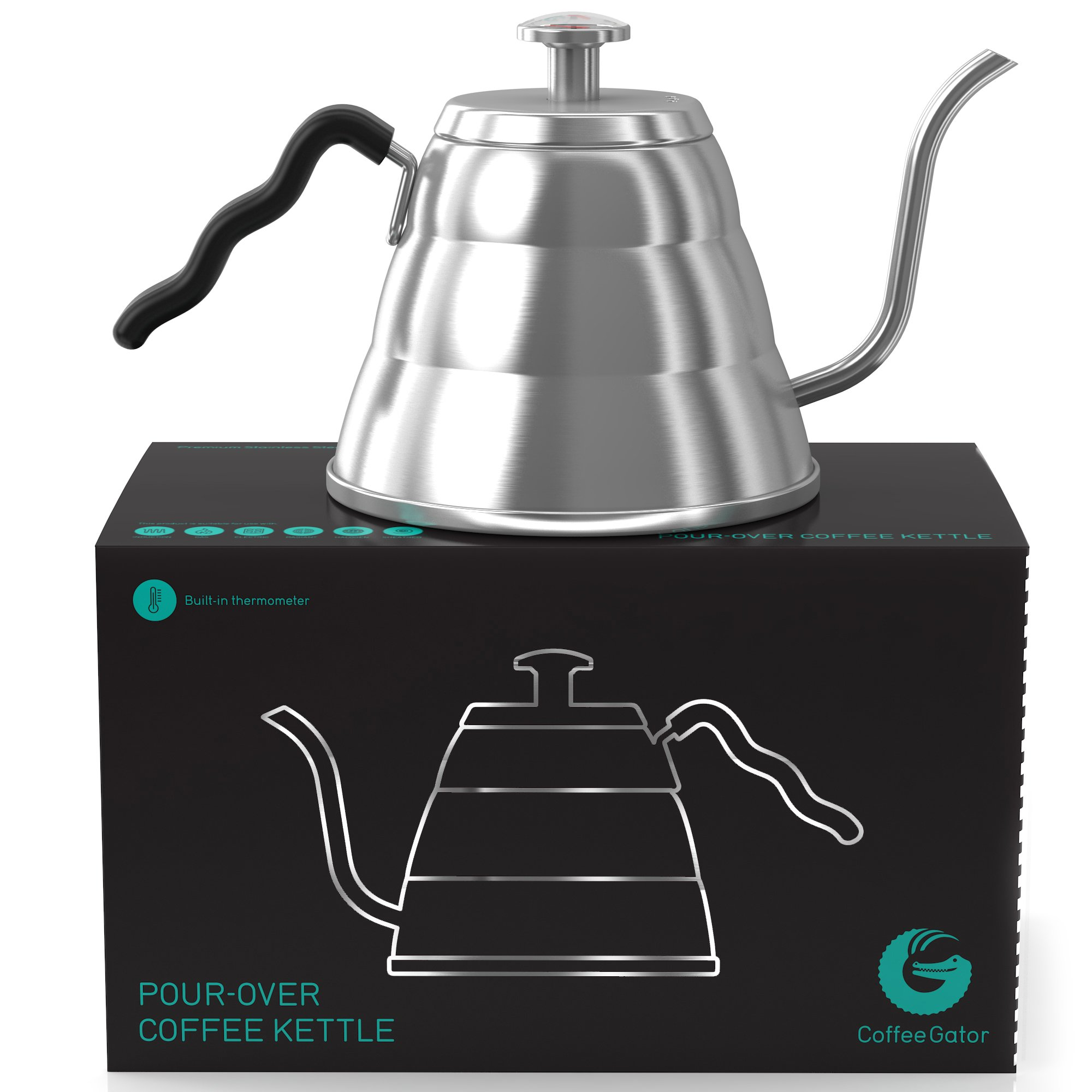 Coffee Gator Pour Over Kettle - Precision-Flow Gooseneck Spout and Thermometer - Brew Barista-Standard Hand Drip Coffee and Tea - Suitable for all Stovetops Including Induction - 34 Ounce by Coffee Gator