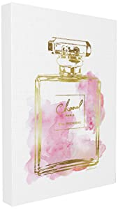 Stupell Industries Glam Perfume Bottle Gold Pink Oversized Stretched Canvas Wall Art, Proudly Made in USA