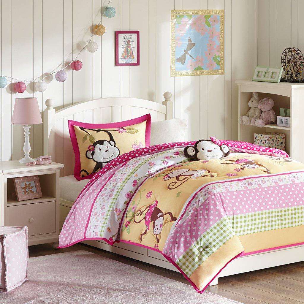 amazoncom mizone kids monkey business 3 piece comforter set pink twin home u0026 kitchen - Twin Bed Comforters