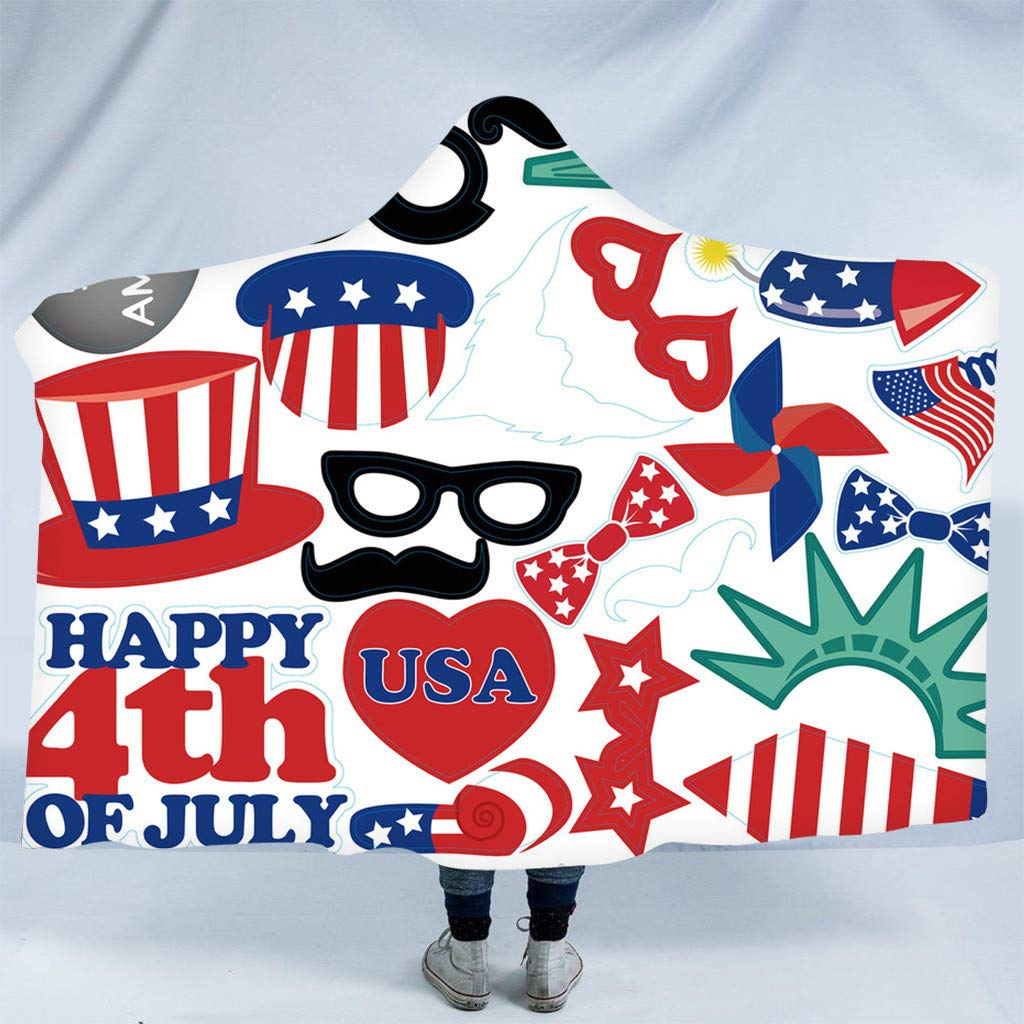 Hohaski Hooded Blanket, American Independence Day Plush Hooded Warm Blanket Dressing on Sofa Bedding Travel Blanket (F)