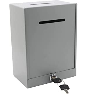 Ticket Box MCB Locked Donation Box Thick 2 Piece Metal Secured Charity Box- Fundraising Donation Box Collection Box