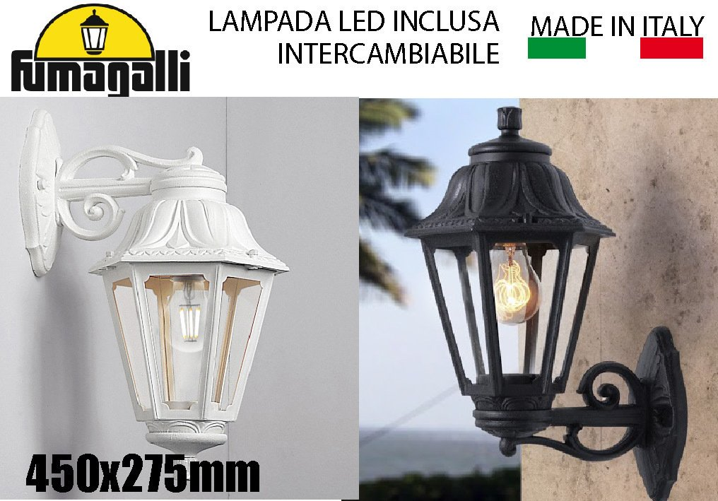Lanterna applique bianca e con lampada led intercambiabile