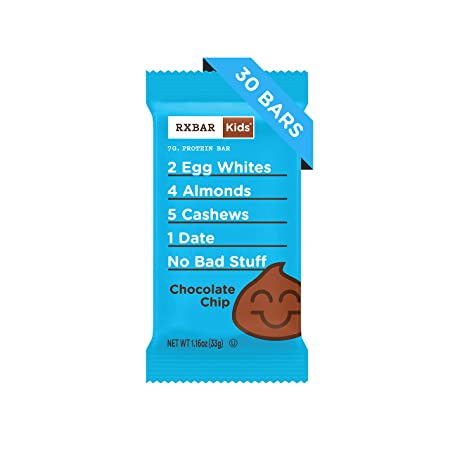 RXBAR Kids Real Food Protein Bar, Chocolate Chip, Gluten Free, 1.16oz Bars, 30 Count