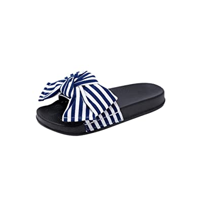 Amazon.com   Women Slipper Summer Bow Knot Slipper Fashion Casual Home Slippers Beach Shoes Zapatillas, Blue, 36, C   Slippers