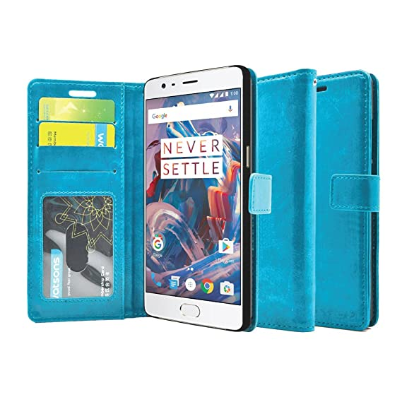 info for 6ecb4 6ad5b FOSO(™) OnePlus 3 PU Leather Magnetic Flip Cover Wallet Case for OnePlus 3T  / One Plus 3 (Blue)