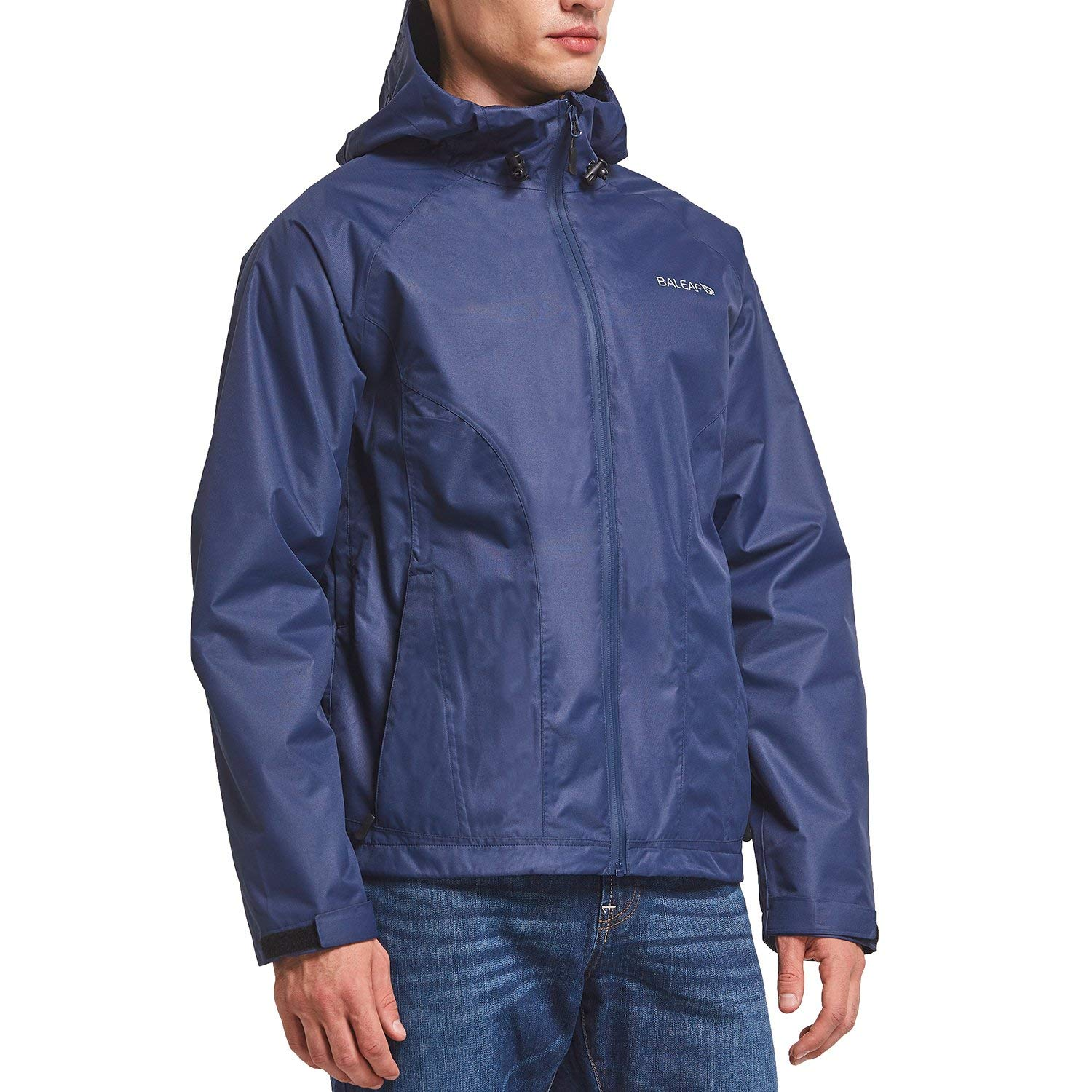 Baleaf Men's Waterproof Rain Jacket Lightweight Windbreaker Breathable 3K/3K for Hiking, Climbing, Camping, Mountaineering Navy Size 2XL by Baleaf