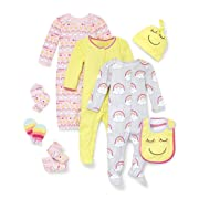 The Children's Place Baby Girls Rainbow Stripe Take-Me-Home 8-Piece Set, Sun Ray, 0-3MONTHS