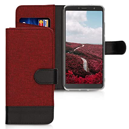 kwmobile Wallet Case for Xiaomi Redmi S2 / Redmi Y2 - Fabric and PU Leather  Flip Cover with Card Slots and Stand - Dark Red/Black