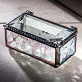 J Devlin Box 178-2 Dragonfly Accent on Stained Glass Box Decorative Keepsake Trinket Case Clear Iridescent