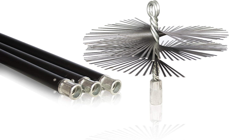 Italburn® - Kit de 10 metros de varillas con cepillo de acero de 200 mm para limpiar chimeneas, leña, calderas, chimeneas, estufas y chimeneas