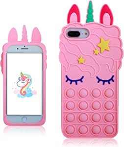 oqpa for iPhone 6 Plus/6S Plus/7/8 Plus Case Cartoon Funny Cute Silicone Design Cover for Girls Kids Boys Teen,Fashion Cases Fidget Aesthetic Bubble Unicorn(for iPhone 6 Plus/6S Plus/7/8 Plus 5.5