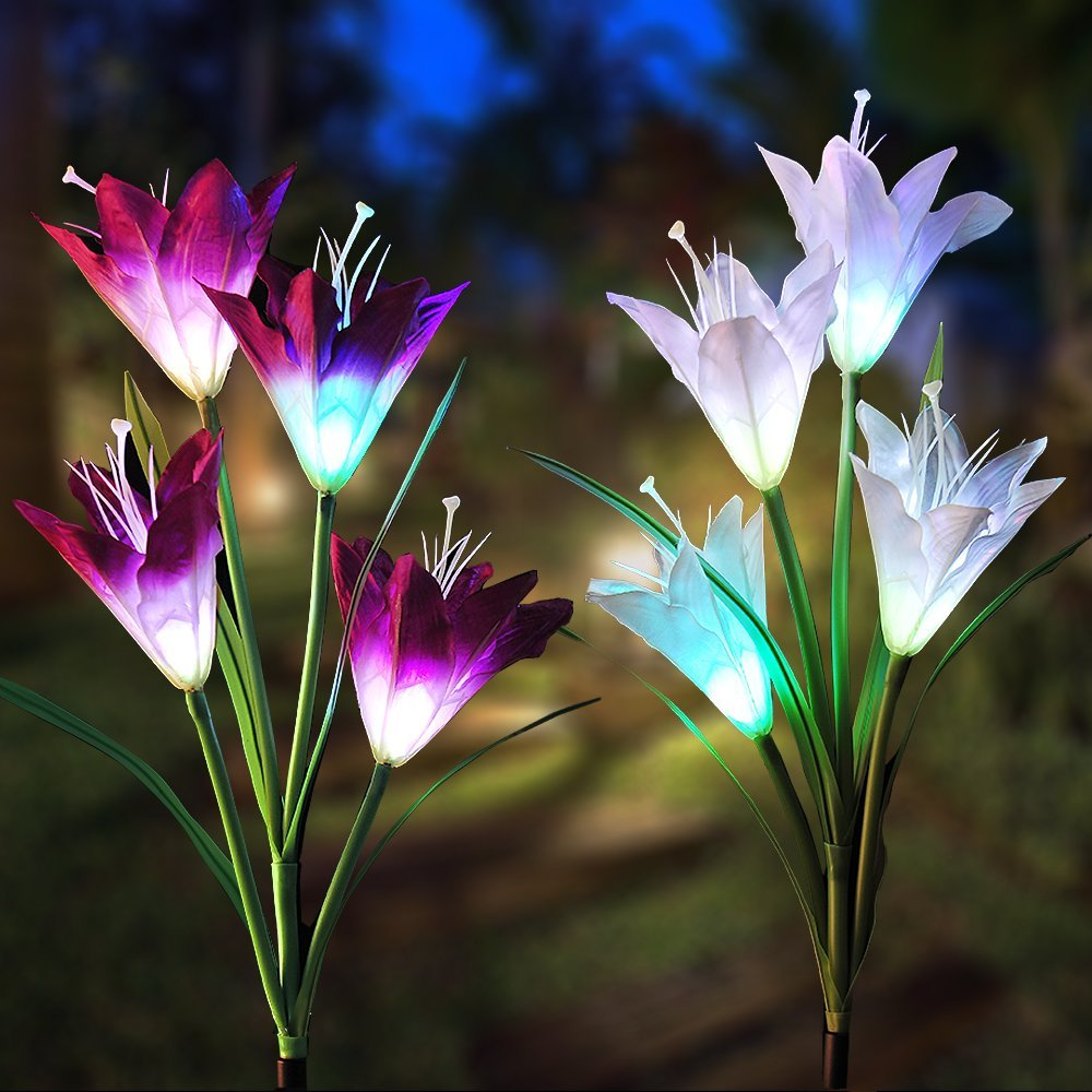 GuanZo Solar Powered Garden LED Lily Stake Lights, Multi-Colors Auto-Changing, IP65 Rated with Rechargeable Batteries (Set of 2, Purple and White)