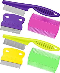 Boao 6 Pieces Pet Lice Combs Dog Grooming Flea Comb Cat Tear Stain Comb for Removal Dandruff, Hair Stain, Nit (Colour 2)
