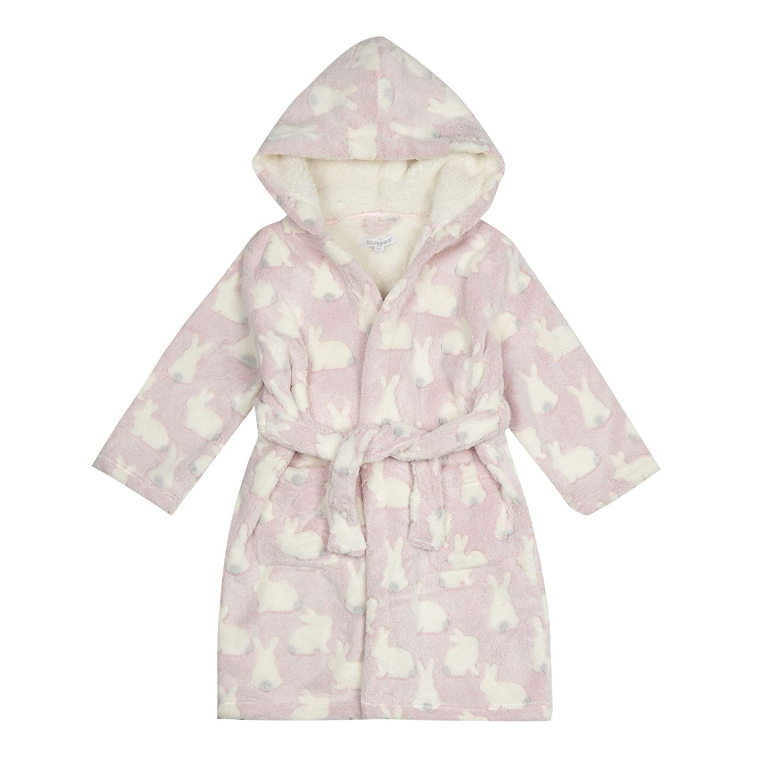 bluezoo Kids Girls' Bunny Dressing Gown Age 1-14 Years, Pink