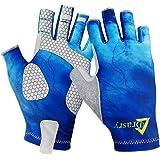 Drasry UV Protection Fishing Fingerless Gloves Men Women UPF 50+ SPF Gloves for Fishing Kayak Paddling Hiking Sailing Rowing