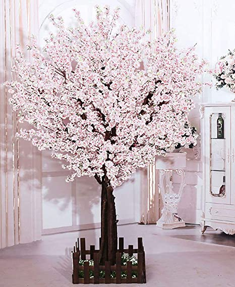 Amazon Com J Beauty Artificial Cherry Blossom Tree Huge Size Cherry Blossom Tree For Wedding High School Indoor Outdoor Party Restaurant Mall Silk Flower 8ft T White Home Kitchen